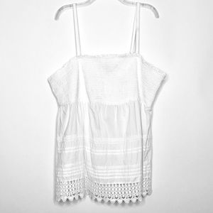 Lane Bryant White Smocked Crochet Blouse 26/28